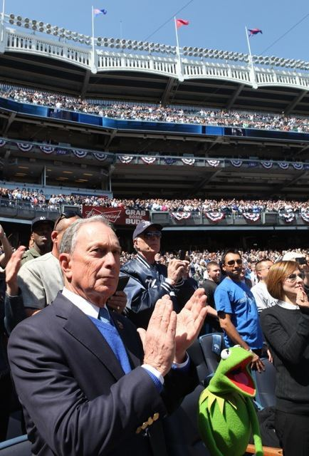 Kermit with Mayor Bloomberg at a Yankees game.