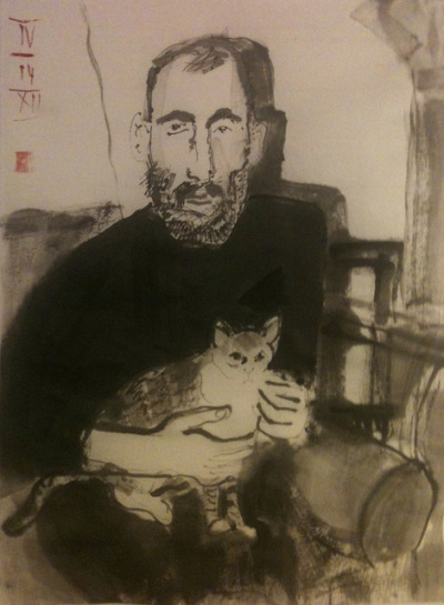 "Edward Gorey before the ""heaviness of success"", ink on Japan 24x33cm, 20120414 @_blacha_ on Flickr.for:  http://afteramotive.blogspot.de/"