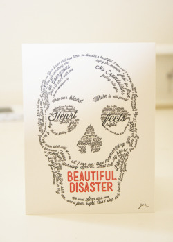 "Skull Typography Portrait (2012) Letterpress poster. 4in x 5in aprox. I used fragments from songs and things people had said to me to create the figure of a skull. The beauty of the typography contrast the common perception of a skull (death, punk, etc.) creating a ""beautiful disaster"".  Printed on Kallemeyn Presss (Greenpoint, Broocklyng, NY)  B U Y  f o r :   2 5 $  Free shipping for the US. 10$ International email:  isabelmdd@gmail.com"
