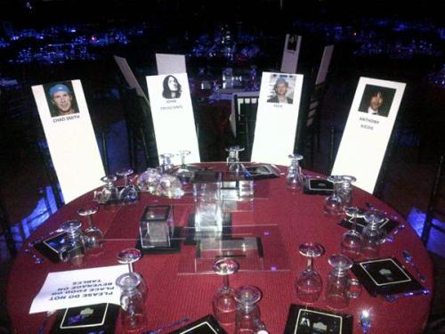 The table RHCP will sit at during the Hall of Fame Ceremony tonight…