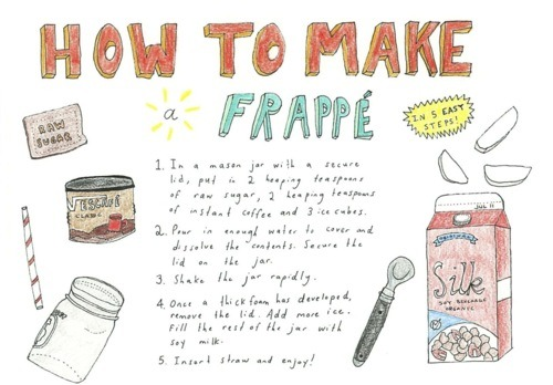How to make a frappe (Found this on tumblr without the source. If you know who this belongs to, kindly let me know so I can give them credit!