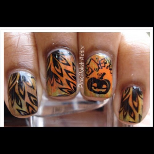 "Oldie but goodie. This is the ""Pumpkin Patch"" mani I did last year for when I took Lala to the pumpkin patch. Perfect fun fall outing mani. (Taken with instagram)"