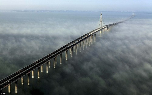The world's longest cross-sea bridge in China.