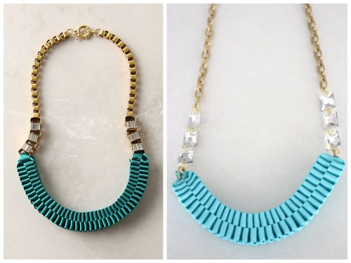 truebluemeandyou:  DIY Knockoff Anthropologie Accordion Strands Necklace. Photo Left: $278 Accordion Strands Necklace here. Photo Right: DIY by Yellow Blackbird. This necklace only costs a few dollars because it's made out of grosgrain ribbon instead of silk. There are more photos on her site of this necklace in a gorgeous deep blue. Tutorial from Yellow Blackbird here.