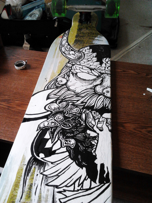 longboard painting in progress.  I'll be selling this on Ebay, msg me for deets