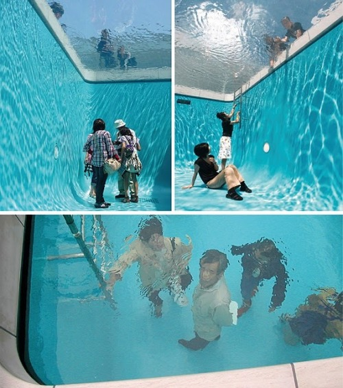 Fake Swimming pool installation in Japan by Erlich Empty space topped with thin layer of water over transparent glass