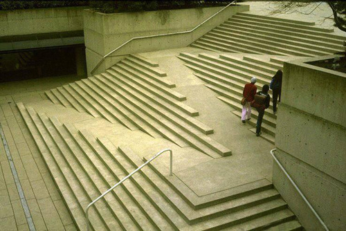 define-space:  i really admire the design for these stairs and how they incorporate a wheelchair access ramp. in a world were barrier free design is essential to living a full and happy life, its amazing to see landscape architect Cornelia Oberlander has taken literal steps to design stairs AROUND a ramp, instead of the other way around.