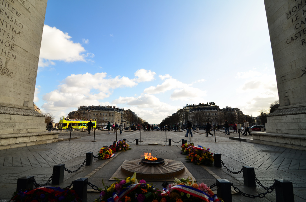 The Eternal Flame under Le Arc de Triomphe, looking down the Champs-Elysees  Paris, February 2012