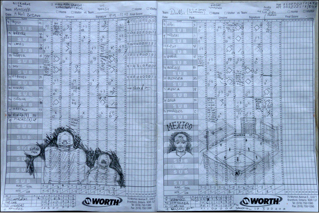 Keeping score at last night's Acereros de Monclova vs. Diablos Rojos del México game. Hi-res version on Flickr.