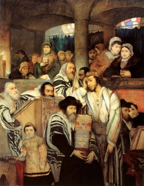disturbthebookmites:   Jews Praying in the Synagogue on Yom Kippur, Maurycy Gottlieb, 1878.