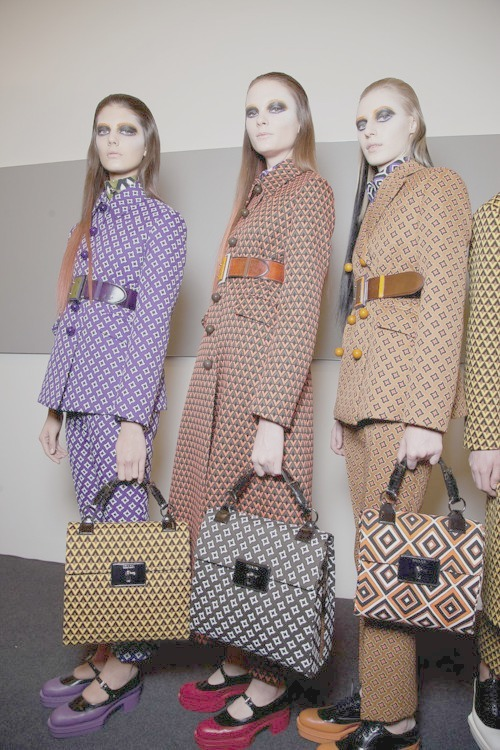 the-front-row:  backstage at Prada fall 2012