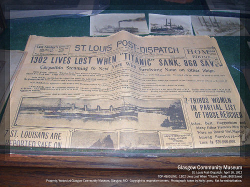 holligenet:  Titanic Newspaper from Glasgow by ~HolliGenet Considering today's date in history and that this newspaper will be exactly 100 years old in two days, I thought I would share. This is on display in my mother's home town.