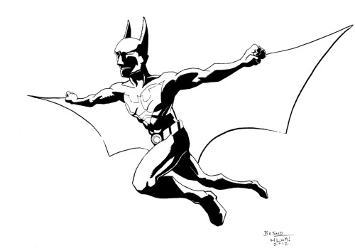 Batman Beyond, inked. Practicing with my brush pen… Still not up to par on it.  My hand shakes too much!! =T