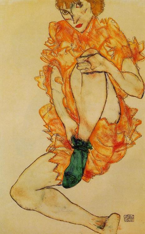 Egon Schiele- The Green Stocking (1914)