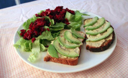 hummuslove:  Beet salad and open-faced hummus-avocado sandwich (by poco-cocoa)
