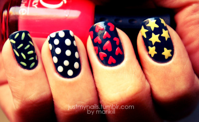justmynails:  Hearts, Stars and Dots!