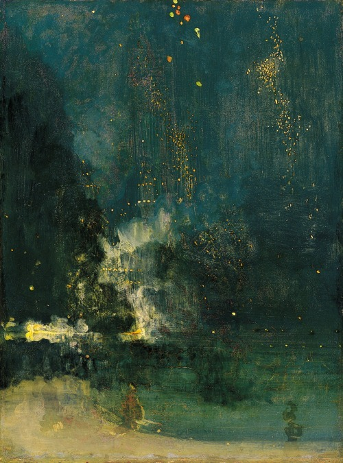 inkflowers:  wasbella102:  James Abbott McNeill Whistler, Nocturne in Black and Gold matterless:  One of my favourite paintings, ever.
