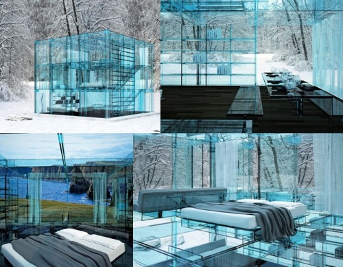 Glass house with glass furniture by Carlo Santambrogio