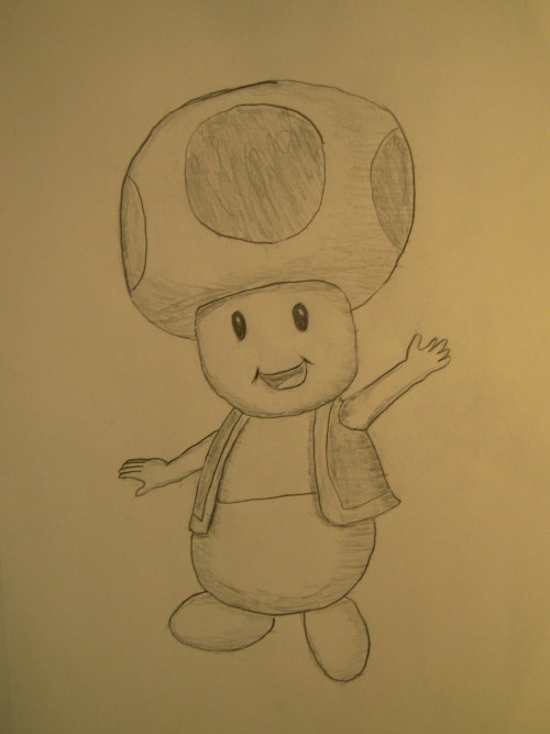 Drawing inspired by my girlfriends favorite Mario Character, Toad. :)