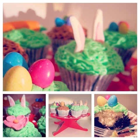 Easter cupcakes with smarties eggs and handmade sugar paste decorations!