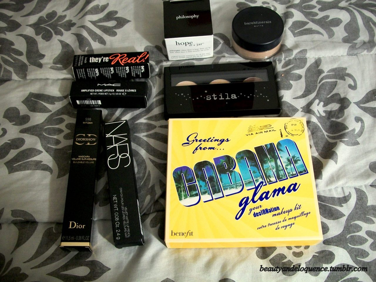 A Mini Spring Haul. This is what I got from my Sephora Chic Week Purchase & one MAC item: Philosophy's Mini Hope in a Jar bareMinerals Matte Foundation in Fairly Medium Stila Hollywood Trio Palette in Hollywood Blvd Benefit's Cabana Glama palette NARS Velvet Matte Lip Pencil in Toundra Dior Diorshow Mascara in Mitzah MAC Reel Sexy Collection Lipstick in Watch Me Simmer Benefit's Mini they're Real! Mascara