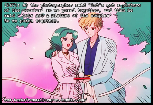 "textsfromsailormoon:     (647): so the photographer said ""let's get a picture of the cousins"" so we posed together, and then he said "" lets get a picture of the couples"" So we posed together.   Screen Cap from: Sailor Moon Screen Caps  Just some dub vs sub humor.  Couldn't resist when I saw this :)"