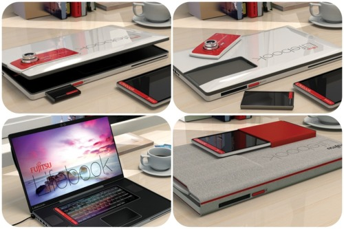 Something For the Multiple Device User: This Fujitsu Lifebook concept that is slated for 2013, and will be equipped with a lot of the devices that are in big use today. Included devices which are detachable from the laptop itself are a handheld tablet, a smartphone, and a full size digital camera. The handheld tablet doubles as a touch screen keyboard when connected to the laptop. Check it out here for more information on how all the devices work together!