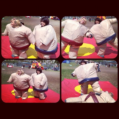 Sumo wrestling with Lyssa at NAKland. #SDSU #UKD #upsilonkappadelta (Taken with instagram)