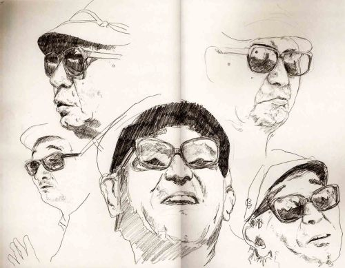 Akira Kurosawa likeness sketches. For my Film Director book cover project, I'm thinking the third will be based on the work of Akira Kurosawa. Just some sketches to practise his likeness before trying to fit various samurai within his face. Need to really start working out where I'm going with each project now. Times are getting a little bit stressy.