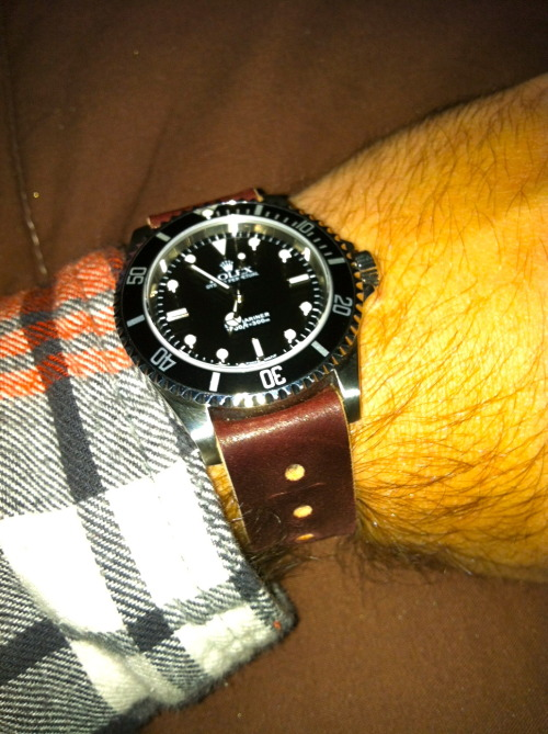 "My new 14060M ""Non-Date"" Submariner on a Horween Shell Cordovan NATO strap. Loving the look and feel so far."