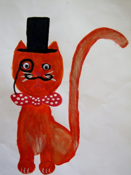 fancy-ass cat i painted for a friend. top hat? check. monocle? check. bowtie? check. googley eyes? check. baditude? check.