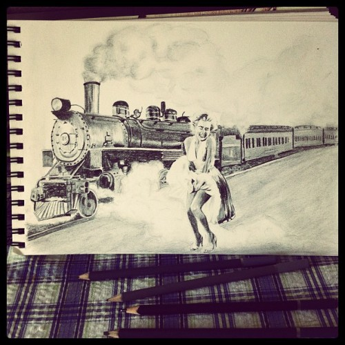 I drew a gag gift for an old guy that likes trains and pretty ladies (Taken with instagram)