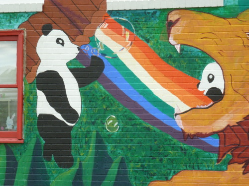 A detail of the mural outside of the Pandarama Center for Pre-K/School age children in Kansas City.