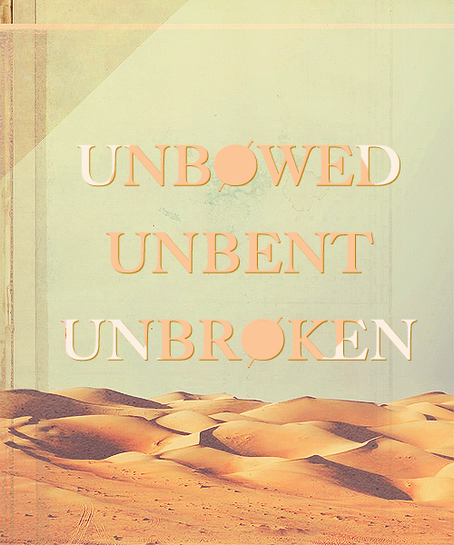 "30 Days of ASOIAF: day five, favorite house motto UNBOWED UNBENT UNBROKEN: ""Good,"" the prince said, ""good."" He hesitated. ""If … if certain things should come to pass, I will send word to each of you. Things can change quickly in the game of thrones."" ""I know you will not fail us, cousins."" Arianne went to each of them in turn, took their hands, kissed them lightly on the lips. ""Obara, so fierce. Nymeria, my sister. Tyene, sweetling. I love you all. The sun of Dorne goes with you."" ""Unbowed, unbent, unbroken,"" the Sand Snakes said, together. Princess Arianne lingered when her cousins had departed.  I know they're participating in the game of thrones, but more often than not I get the feeling that the Martells could care less who sits on that bloody chair up in King's Landing. As long as the people who've hurt them pay the blood price (and it's a pretty high blood price, all things considered), they'll be content to keep to Dorne and go on as Princes and Princesses of their territory."