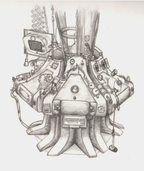 The Eleventh Doctor's TARDIS in pencil by Carol Noordhoek - she spent so many hours on this! (My sister is so epic)