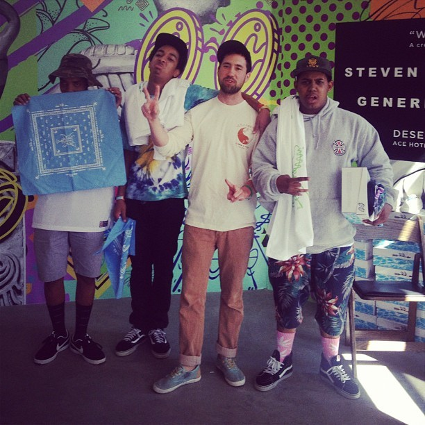 genericsurplus:  A few of the Odd Future dudes rolled through and posed for a quick pic w/ Steve. #oddfuture #ofwgkta #coachella #genericsurplus #acehotel (Taken with Instagram at Ace Hotel & Swim Club)
