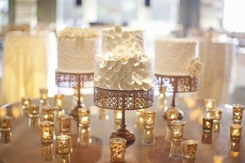 wedding cake gold cake stand gold vintage candle votives