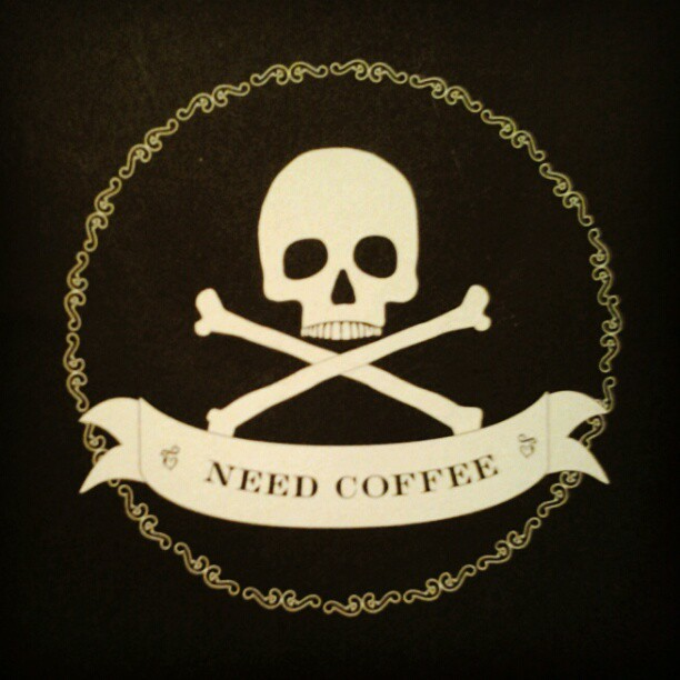 my #journal :) #coffee #skullandcrossbones #recycledpaper (Taken with instagram)