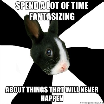 "Ugh, this is me all along. I tend to spend a lot of time fantasizing about things that coild happen in the RP but I know will never happen because ""this is too OOC"", ""this is too mary sue"", ""my partner will never agree"", ""is never going to come out as planned"", ""I will never be able to put it into words"" and more recently… ""I'm not even in the RP group nor I have a character T_T"" Everything is always much more beautiful in my head sometimes. And it frustrates me a lot T_T"