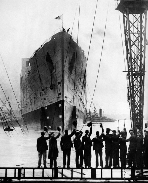 People in Belfast bidding farewell to the ship they just built - the Titanic, 1912.