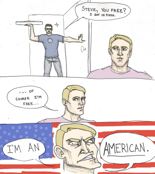 makemywaybackhome:  crazygreenflamingo:  Damn right Steve's free  A REAL AMERICAN