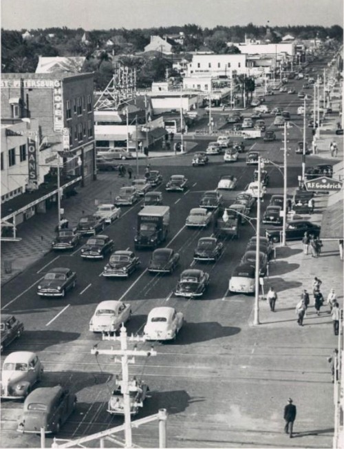 oldflorida:  It's already busy on 9th street. St.Petersburg, 1950's.