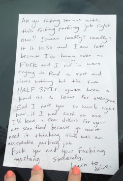 Letter for bad parking job.