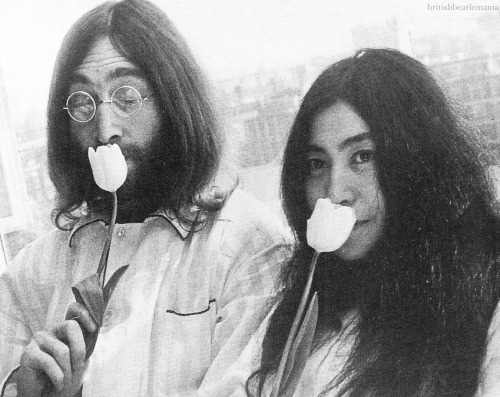 John and Yoko's first Bed-In, Amsterdam, March 25, 1969