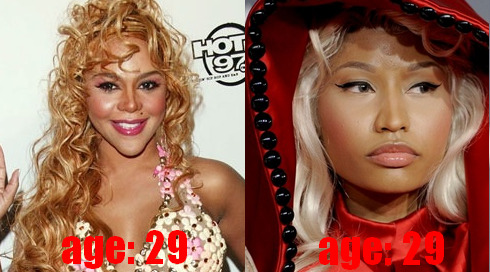 Kim & Nicki face at age 29.