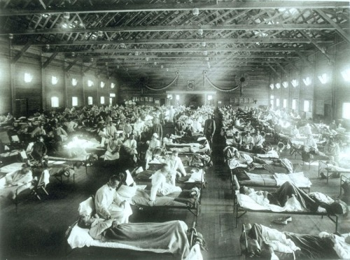 Soldiers from Fort Riley, Kansas ill with Spanish influenza at a hospital ward at Camp Funston, 1918