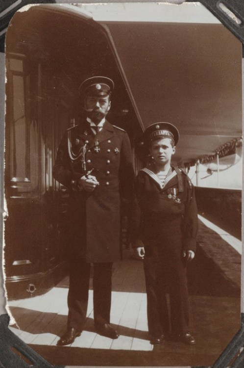 Tsar Nicholas II and his son, Alexei Nikolaevich, Tsarevich of Russia