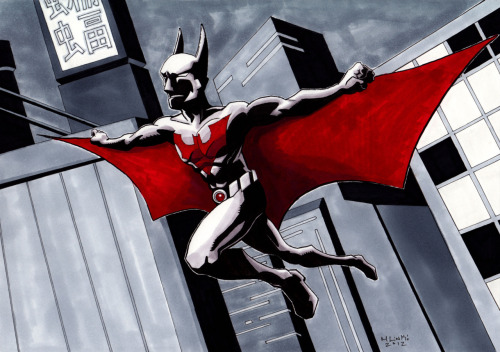 Batman Beyond inked with a brush and rendered in marker on kent board.  Completely traditional!