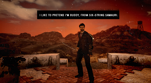 "falloutconfessions:  ""I like to pretend I'm Buddy, from Six-String Samurai."" Six-String Samurai Fallout Confessions  Hey! One of those douchebag mods over at Fallout Confessions posted my confession!"