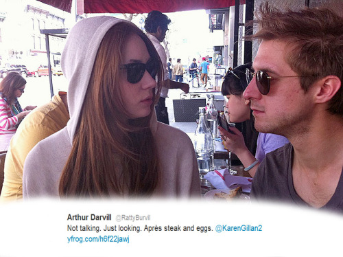 @RattyBurvil: Not talking. Just looking. Après steak and eggs. @KarenGillan2